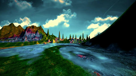03 landscape mountains and a colourful lake with reflections Animation
