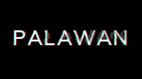 From the Glitch effect arises PALAWAN. Then the TV turns off. Alpha channel Premultiplied - Matted Animation