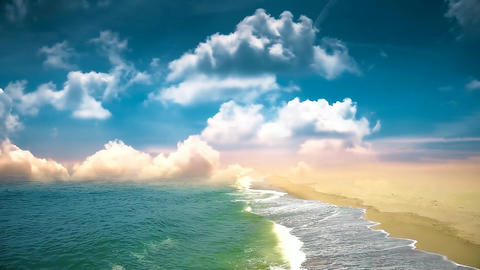 001 landscape of waves on a sandy beach Animation