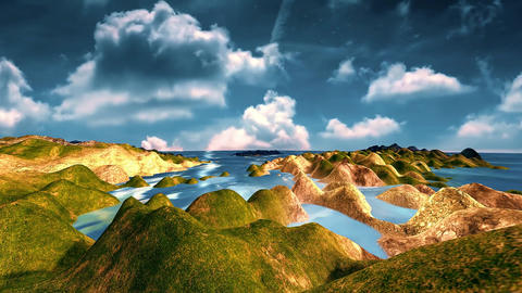 4 landscape of daylight on the sea and golden rocks, Stock Animation