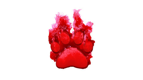 Symbol paw inflames with dark fire, then burns. In - Out loop. Alpha channel Premultiplied - Matted Animation