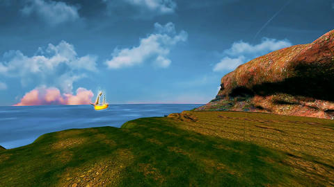 6 landscape of calm sea, beatiful moving sky and a golden ship Animation