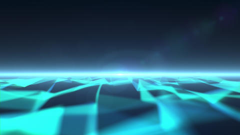 Polygonal sea with a beam of light at the horizon Animation