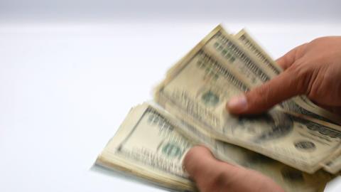 One hundred US banknotes. Cash. hundred dollar, 100 dollar Footage