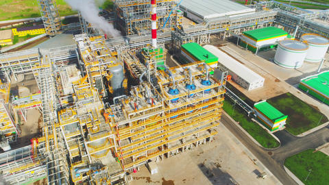 gas and oil refinery complex with equipment upper view Footage