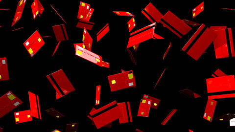Red Credit cards on black background Stock Video Footage