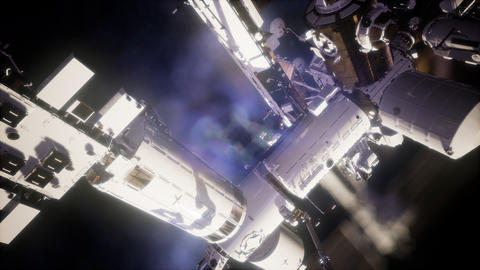 International Space Station in outer space Footage