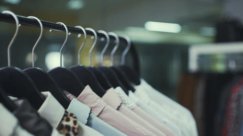 Close-up: a hanger for clothing. Clothes hangers Live Action