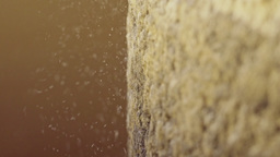 Macro shot of millstone grinding wheat Footage