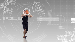 Athlete playing basketball against animated background Animación