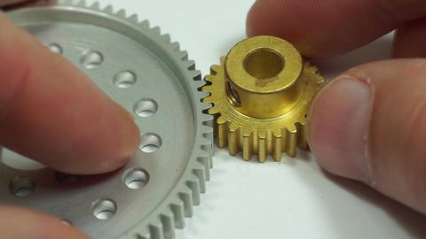 Industrial Spur Gear Pinion Hub Meshing Macro Live Action