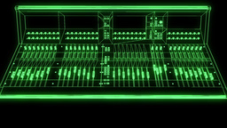 Sound Control Console Wireframe Hologram Animation
