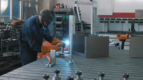 The welder is engaged in welding works Footage