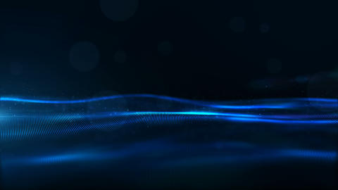 Digital Blue Color Particles Wave and Light Abstract Background Animation