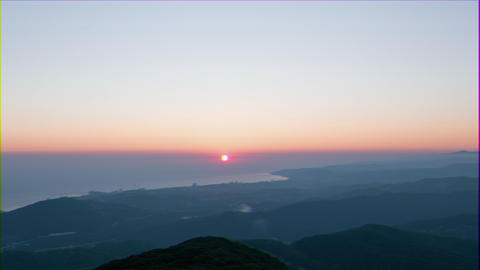 Glitch effect. Sunset View from Mount Akhun. Sochi, Russia Live Action