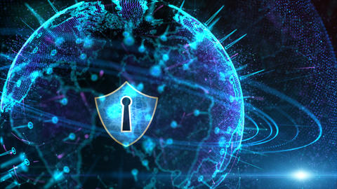 Futuristic Background Motion Element, Shield Icon and... Stock Video Footage
