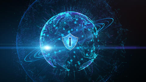 Futuristic Background Motion Element, Shield Icon and Secure Global Network, Cyber Security and Animation
