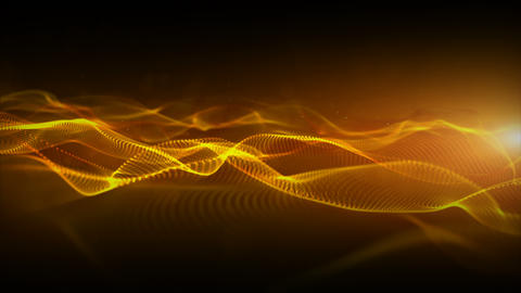 Abstract gold color digital particles wave with bokeh and light motion background Videos animados