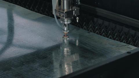 Laser cutting of metal shot close-up Footage