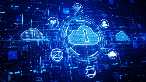Technology network and data connection, Secure Data Network Digital Cloud Computing, Cyber Security CG動画素材