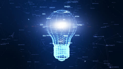 Technology network with lamp digital blue background... Stock Video Footage