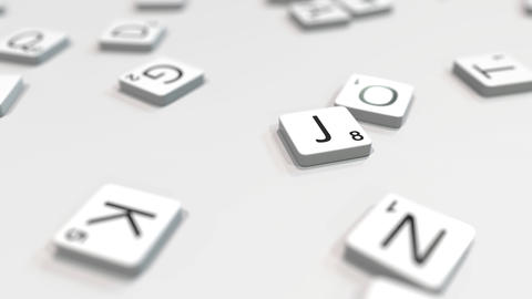JOB word being composed with scrabble letters. Editorial 3D animation ライブ動画