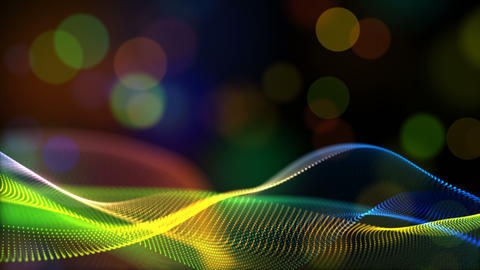 Abstract rainbow color or hologram color digital particles wave with bokeh flow motion background Animation