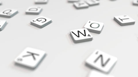 WORK word being made with scrabble letters. Editorial 3D animation ライブ動画