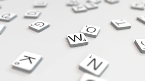 Composing WINNER word with scrabble letters. Editorial 3D animation ライブ動画