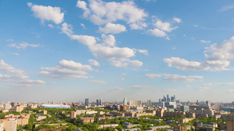 Timelapse residential urban area of Moscow city. Panorama of Urban buildings Footage