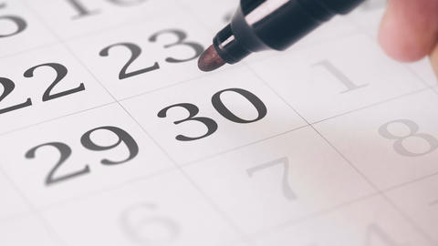 Marked the thirtieth 30 day of a month in the calendar... Stock Video Footage