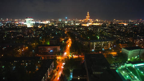 Aerial view of Moscow at night. Illuminated city streets Footage