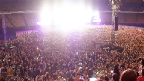 4k blurred footage of big rock concert on big stadium at... Stock Video Footage