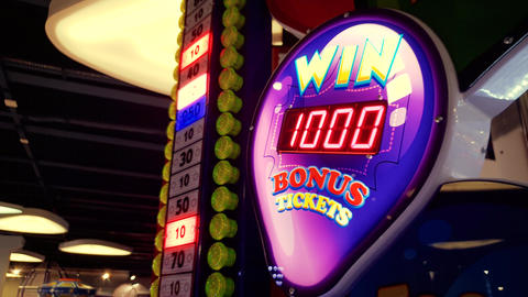 4k footage of colorful neon display in casino. Get your chance to win big prize Footage