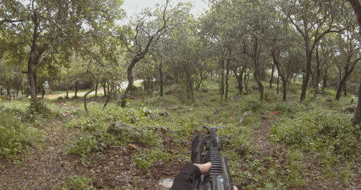 Weapon GoPro POV footage of a squad of Israeli commando soldiers during combat GIF