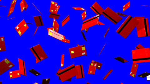 Red Credit cards on blue chroma key Stock Video Footage