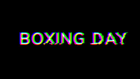 From the Glitch effect arises celebration BOXING DAY. Then the TV turns off. Alpha channel Animation