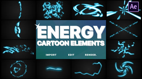 Cartoon Energy Elements After Effects Template