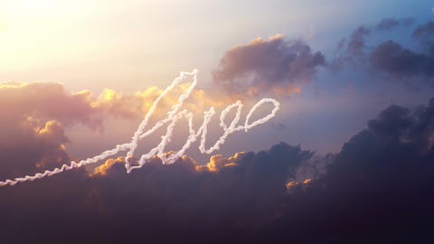 Airplane draws word Love on the sky Animation