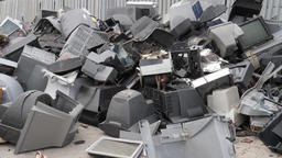 Electronic waste collection point. Electronik junk. Recycling. Zoom in Footage