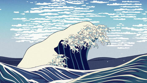 Ukiyoe, the Gtreat Wave animation Animation
