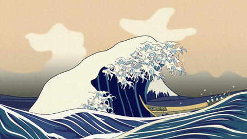 Ukiyoe Wave animation LOOP Animation