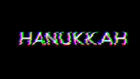 From the Glitch effect arises celebration HANUKKAH. Then the TV turns off. Alpha channel Animation