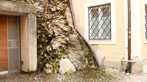 house detail near a rock face in Salzburg, winter time Footage
