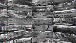 CCTV cameras, split screen of security cameras, rotating video wall Footage