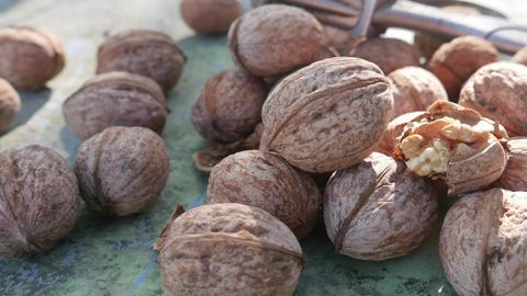 Kernel Nut, Cracked and Whole Walnut on Old Green Desk ライブ動画