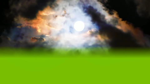 09 3d animated night sky with moon on green screen foreground Animation