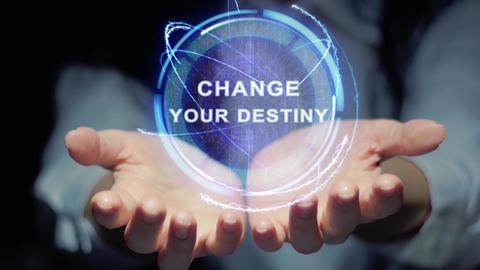 Hands show round hologram Change your destiny Footage