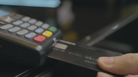 Credit card machine for money transaction. Man hand with... Stock Video Footage