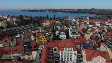 Beautiful streets of Lindau with its amazing architecture, aerial footage in 4k Live Action
